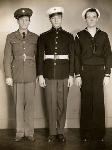 Ww Ii Us Army, Marine and Navy Men in Uniform Photographic Print