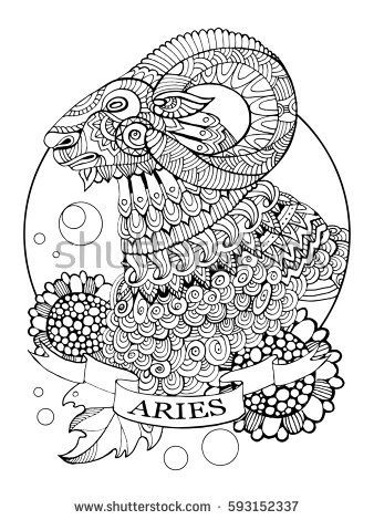 Aries zodiac sign coloring book raster illustration. Tattoo stencil. Black and white lines. Lace pattern