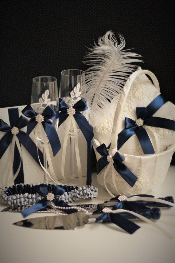 Navy Cake Server Set / Navy blue Wedding Cake by AlexEmotions