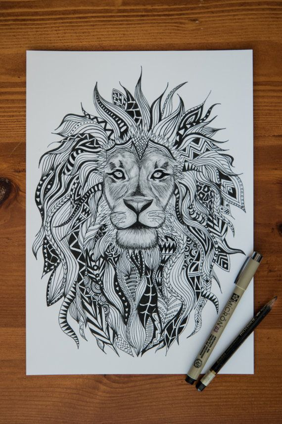 ONLY $16 FOR HOLIDAY SALE! Tribal Lion Print by EtchesOfCrimson on Etsy