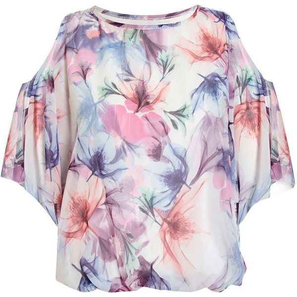Dorothy Perkins *Quiz Blue And Pink Batwing Bubble Top ($44) ❤ liked on Polyvore featuring tops, multi, chiffon batwing top, blue top, dorothy perkins, flower print tops and blue chiffon top