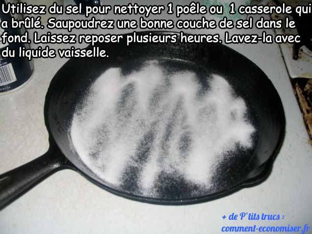 nettoyer casserole brûlée avec du sel