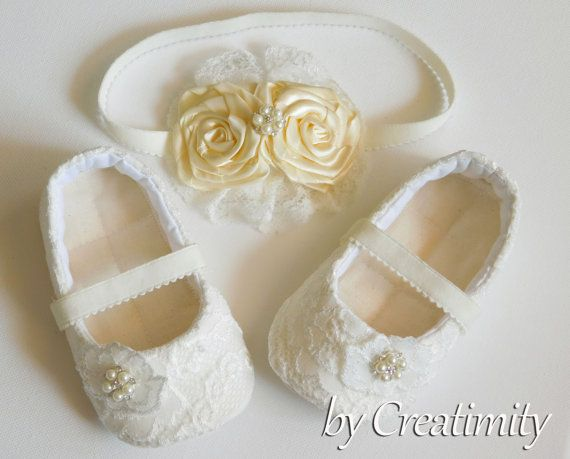 Ivory baby girl shoes ballet shoes christening shoes