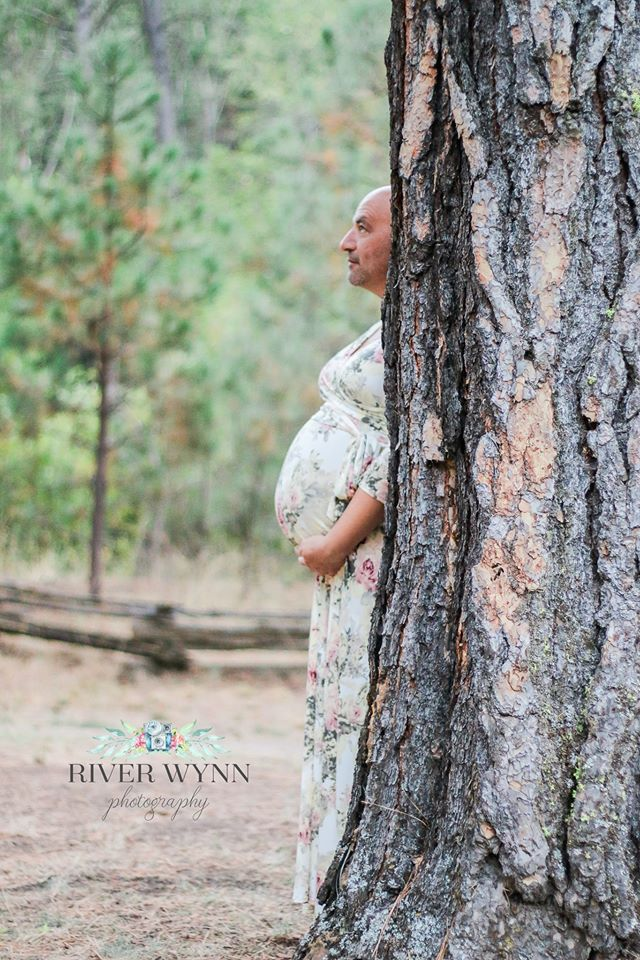 My husband and I did maternity pictures. Here is the best one