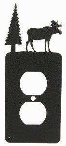 "MOOSE Power Outlet Plate Cover by Innovative Fabricators, Inc.. $12.00. Description: A moose and pine tree stand on top of this power outlet plate cover. This piece is reversible and can be installed facing either direction. Fits all standard outlets. Laser cut with remarkable quality and detail. Mounting hardware included. Size: 3"" wide x 7"" tall. Material:18 gauge steel. Finish: Black wrinkle powder coat."