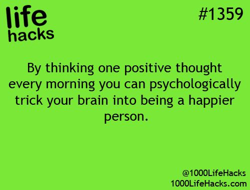 Positive thoughts = Happy person
