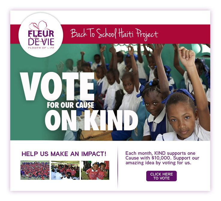 Help Fleur de Vie receive funding for our Back to School Project in Haiti by voting here http://projects.kindsnacks.com/project/back-to-school-recreational-day/