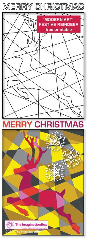 Festive 'Modern Art Reindeer' - FREE printable Christmas colouring activity for all ages