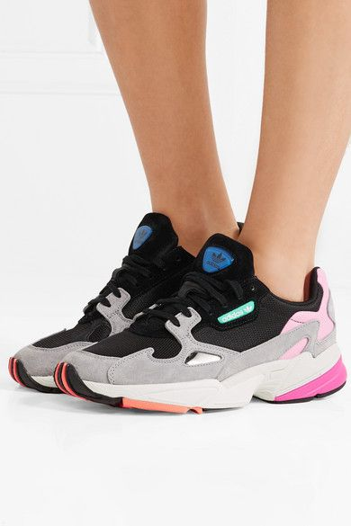 online store b41f1 cdc4f adidas Originals   Falcon mesh, suede and faux leather sneakers    NET-A-PORTER.COM