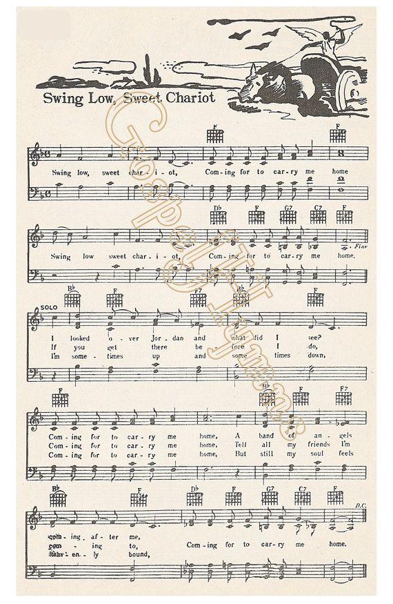 Roots Music Swing Low Sweet Chariot Spiritual Sheet by GospelHymns