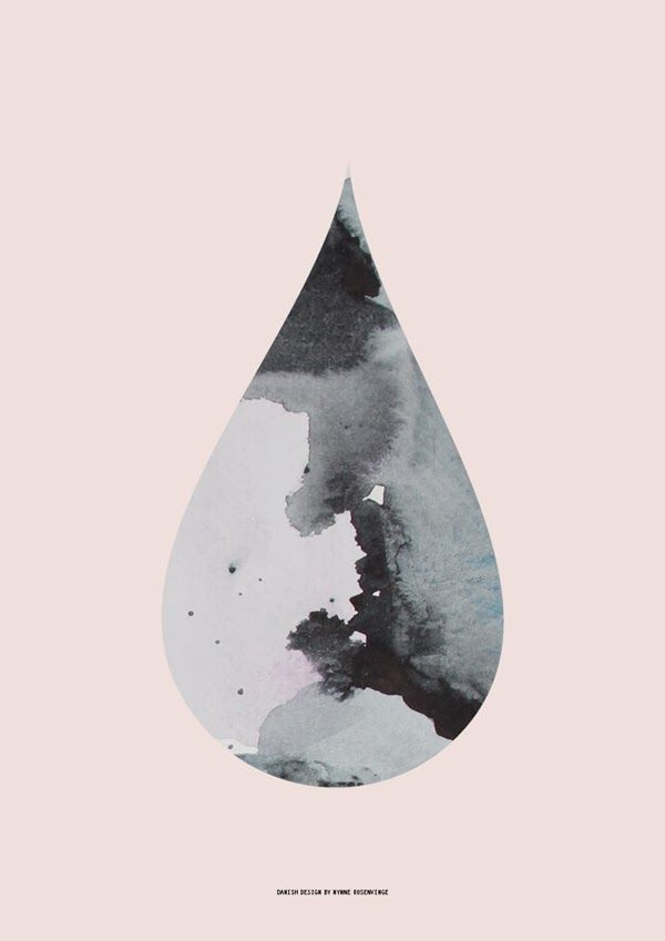 Nynne Rosenvinge | New Limited Edition Series, teardrop, ink stain, pink, black & white, screenprinting, poster