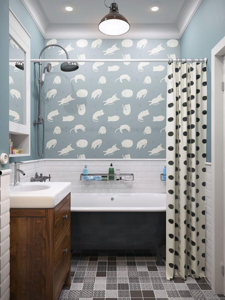 дизайн ванной в однокомнатной квартире в скандинавском стиле