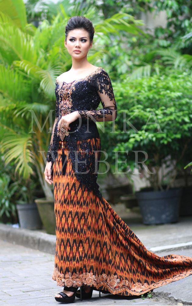 Black Kebaya with Bronze Endek Bali Ikat