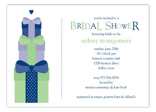 Our Polka Dot Bridal Shower Invitations come in a variety of shapes and sizes. From traditional to modern and trendy, our bridal invites are on point. This Navy Stacked Presents Invitation is a cute invitation to springboard your bridal shower ideas. Pin this to your Pinterest board and let the ideas just start rolling in. If the bride's colors include navy blue, you're going to want to jump on this wedding card here. Choose to customize these in our design studio with our bridal sample…