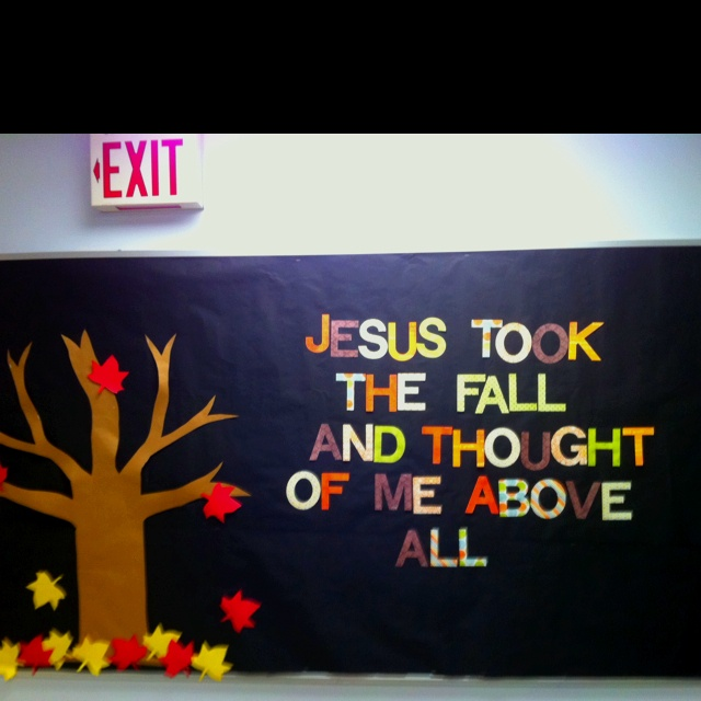 A beautiful fall bulletin board made by my awesome co-worker Trisha :)
