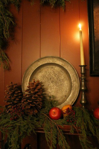 Pewter plate, candleholder, pinecones, greenery and candle - Simplicity!