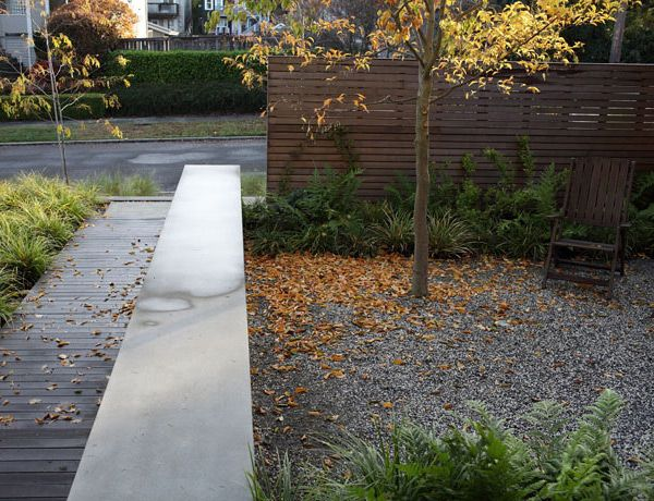 Modern Entry Ipe Deck Concrete Seatwall Cedar Fence Queen Anne Seattle