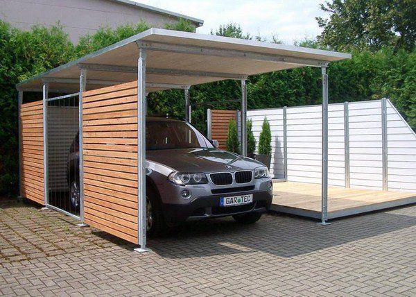 small carports ideas metal beams wood walls quick construction