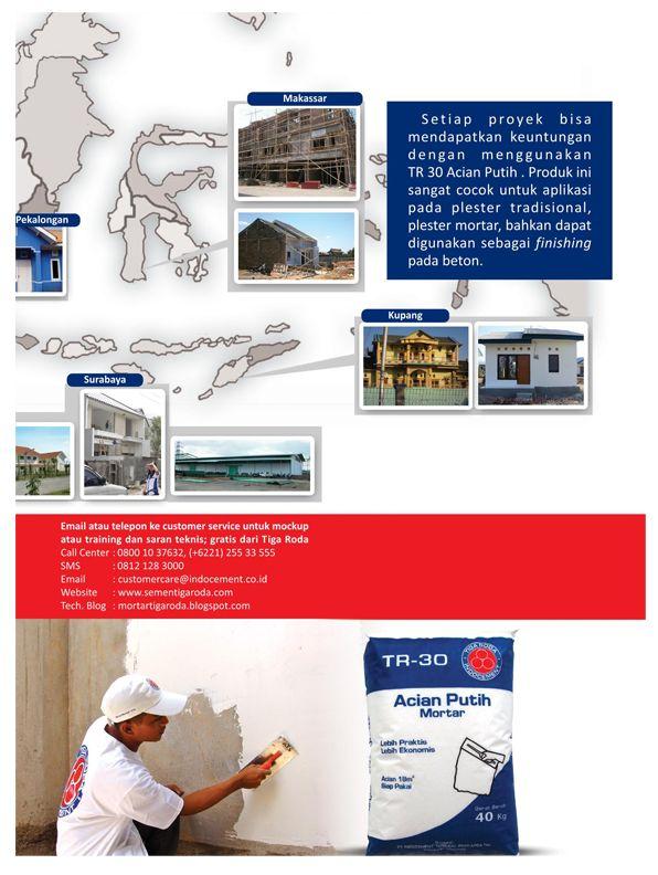 Bahan Material Bangunan Semen TR30 Acian Putih di Indonesia