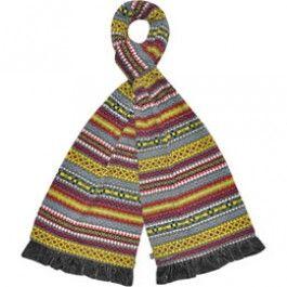 Grey fairisle jersey scarf