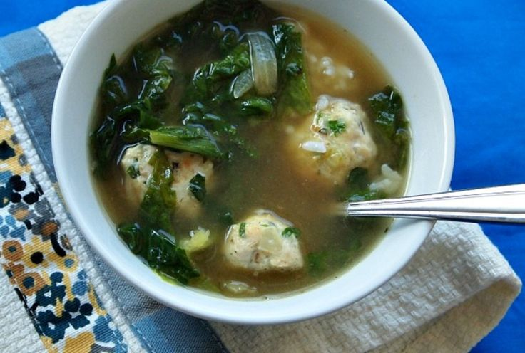 Escarole and Chicken Meatball Soup