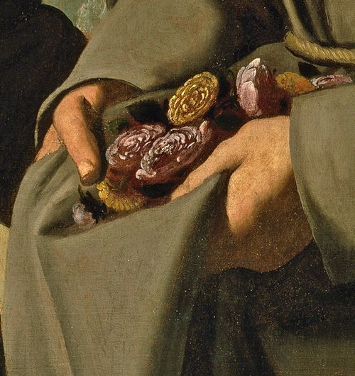 """by Francisco de Zurbarán detail _ Saint Diego and the Miracle of the Roses, 1658-60 Museo del Prado, Madrid, Spain """"As a lay brother of the Franciscans in Spain, Saint Diego (Saint Didacus of Alcalá) often took bread from the monastery's dining table to give to the poor. One day, leaving the convent with a cloak full of food, he was accused and challenged to open his cloak; miraculously, the loaves of bread had changed into roses."""" (+)"""