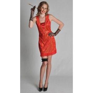 Costume de deguisement charleston années 20-30 femme, robe charleston rouge à sequin or deluxe.