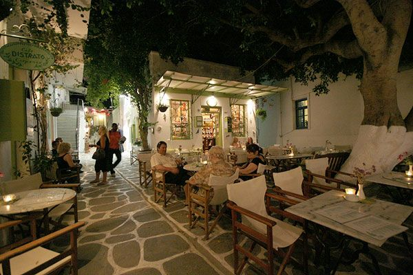 Local cafe by night in Paros island during summer