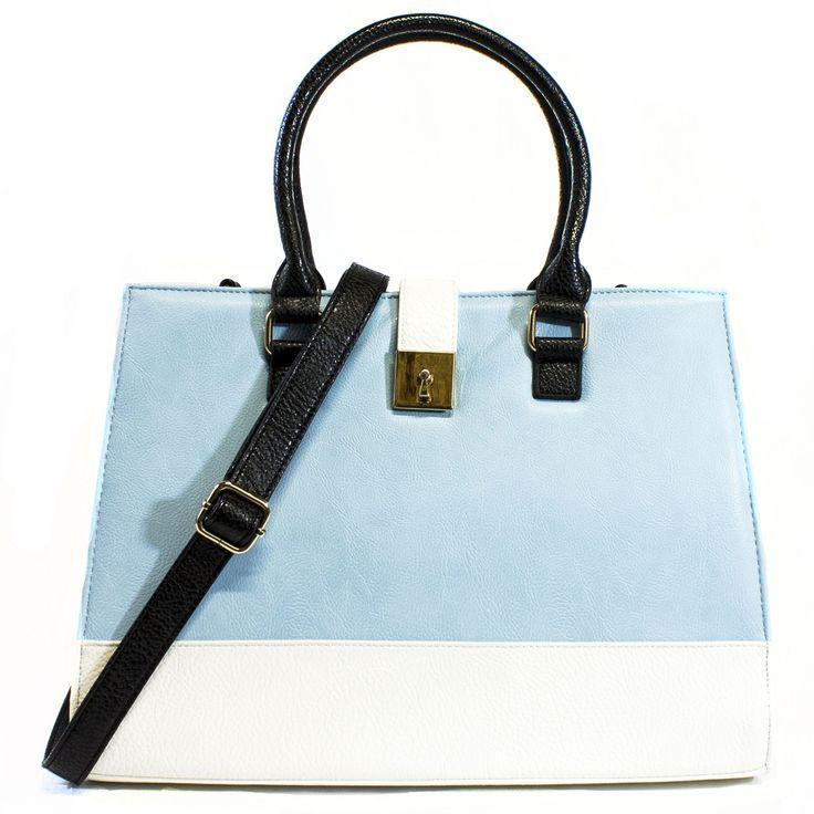 Micah Colorblock Tote Handbag in Blue and White | Discount Handbags & Purses | Handbag Heaven #handbagheaven