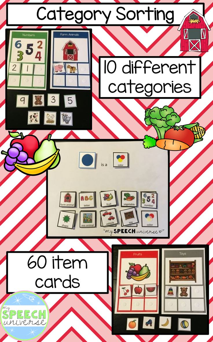 Category Sorting activity.  10 different categories with 60 different item cards.  Visual supports for creating sentences too!