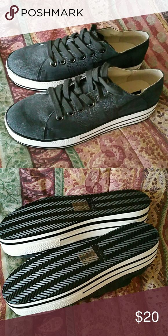Platform Tennis Shoes Grey denim platform tennis shoes never worn. Still in the Box. Shoes Platforms