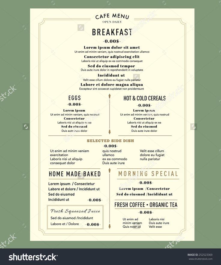 Menu Design For Breakfast Restaurant Cafe Graphic Design Template ...