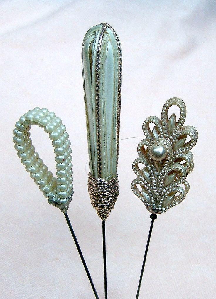 Antique hatpins 3 faux pearl hair jewelry hat by ElrondsEmporium