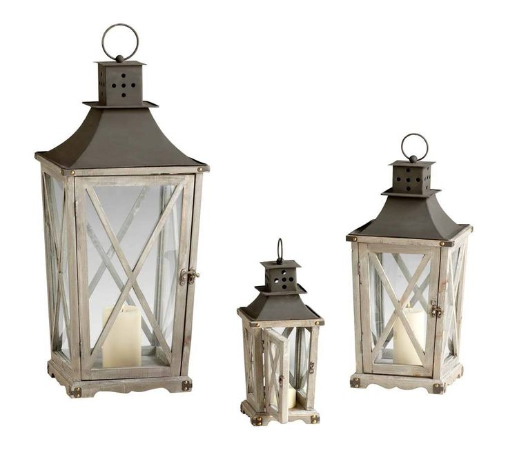 White weathered rustic pine wood and iron lantern set