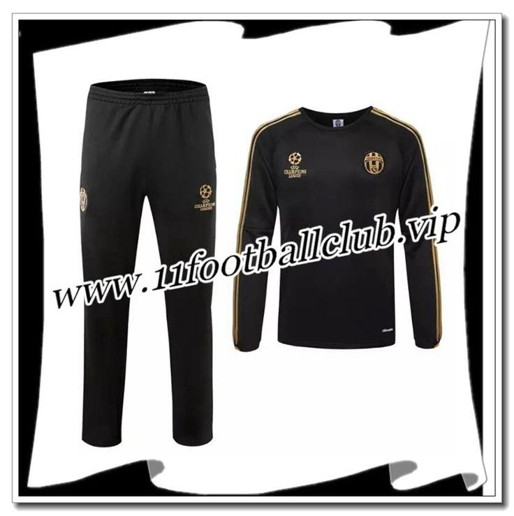 Le Nouveau Champions league Survetement de foot Juventus Noir 2015 2016 Personnalisé