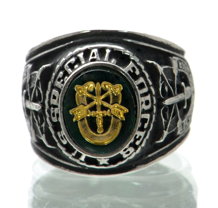 Made In Usa Men's Us Special Forces Rhodium Plated Military Ring Size-14 '