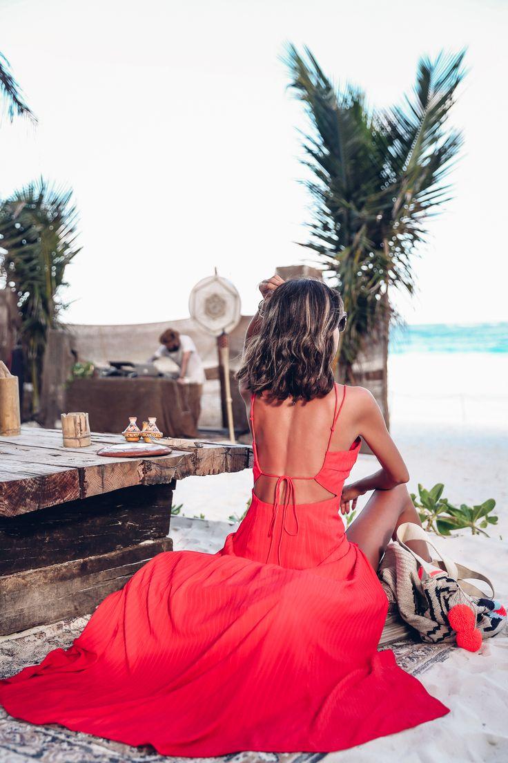 Red beach dress