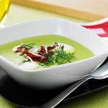 Grön ärtsoppa, Crème Nignon, med pepparrot och bacon