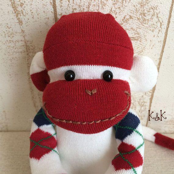 Sock Monkey Doll Boy 103  Argyle Sock by KnKCraftsAndDesigns