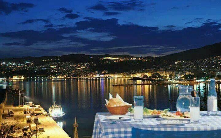 Ouzo and seafood at the harbor of Kavala