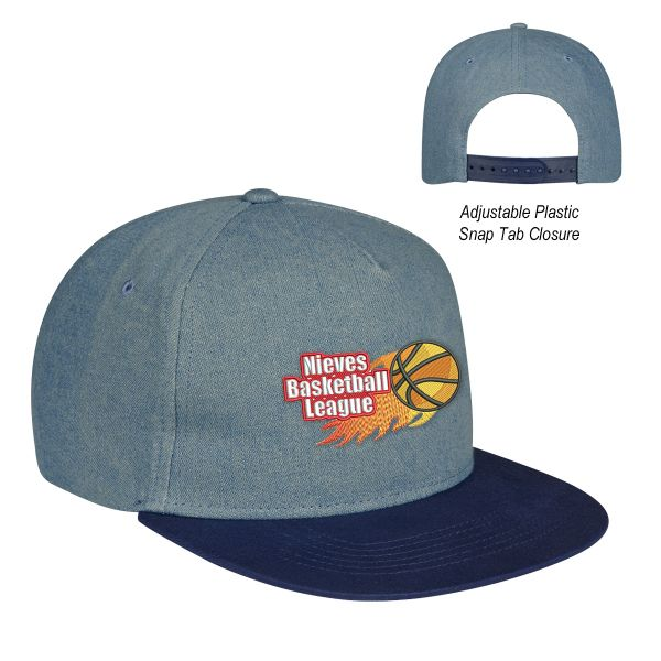 Hats off to a successful new promotional campaign with the Shades of Blue denim cap! This trendy hat is made from 100% cotton, has five panels and features a medium profile. It also has an unstructured crown, a flat bill and an adjustable plastic snap tab closure. Perfect for promoting sports teams, company softball leagues and more, it can be customized with an imprint of your company name and logo for maximum brand exposure.