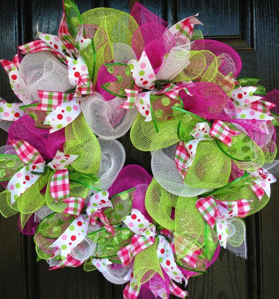 Deco Mesh Spring Summer Wreath in Vibrant Lime Green, Hot Pink and White with sparkly coordinating wired ribbon-Spring Wreath-Summer Wreath on Etsy, $50.00