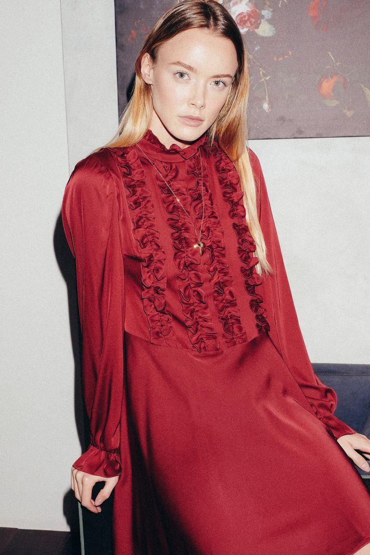 Beresta autumn - winter 2017 , look book, red dress, бордовое платье