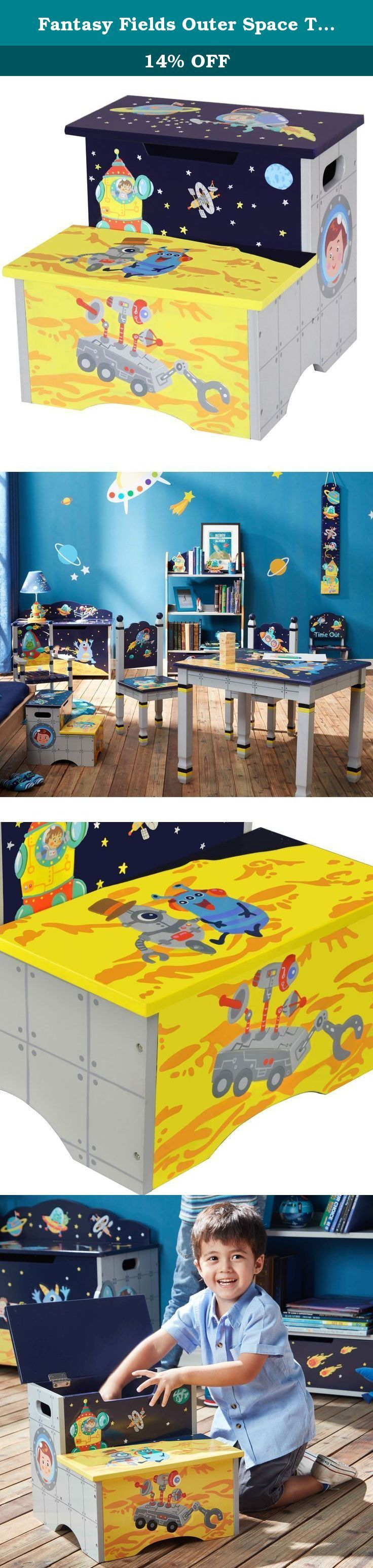 Fantasy Fields Outer Space Thematic Kids Wooden Step Stool with Storage. Step up into a galaxy beyond compare, with our Outer Space Step Stool with Storage! Astronauts can pretend they are walking on the moon when they view the imagination inspiring designs located on the steps. Playful aliens and space ships dance about the design and tie it together to create a story that's a fun as it is educational. Top step lifts up to provide a handy little storage area to store keepsakes.