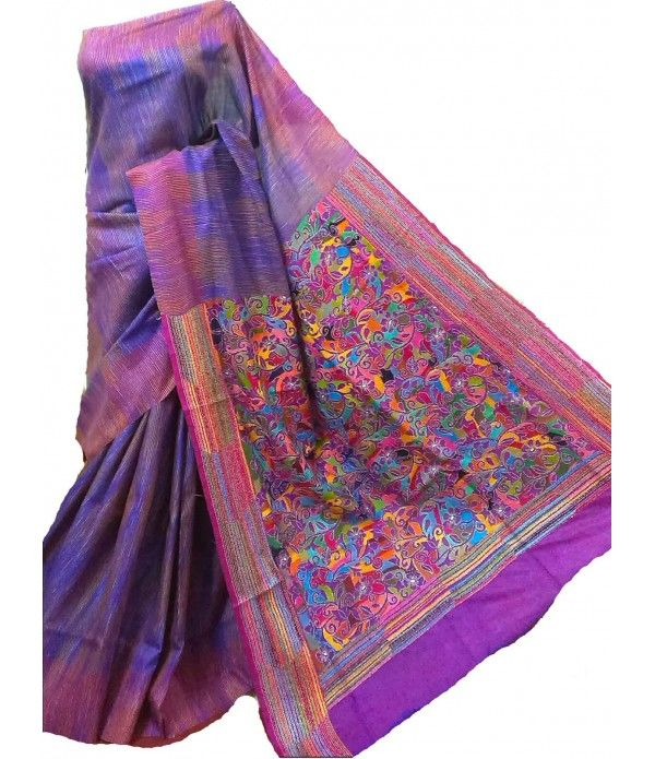 Purple Kantha Silk Stitch Saree