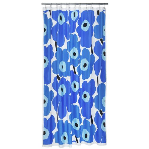 Marimekko Blue Unikko Long Polyester Shower Curtain