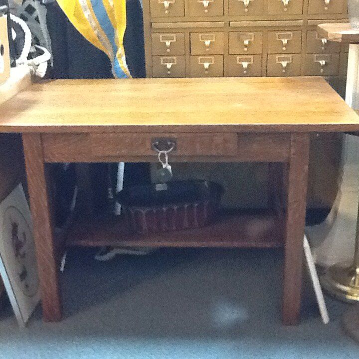 """Early 1900's signed Gustavo Stickley Desk with original handle. 4ft long by 30"""" wide. $2,400.00 USD"""