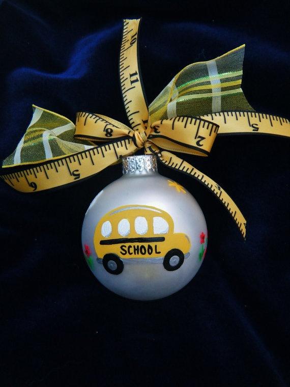 School Bus Ornament End of Year by BrushStrokeOrnaments on Etsy, $13.25