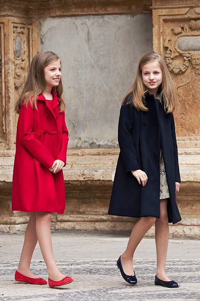 Princess Leonor of Spain (R) and Infanta Sofia of Spain (L) attend the Easter Mass at the Cathedral of Palma de Mallorca on April 16, 2017 in Palma de Mallorca, Spain.