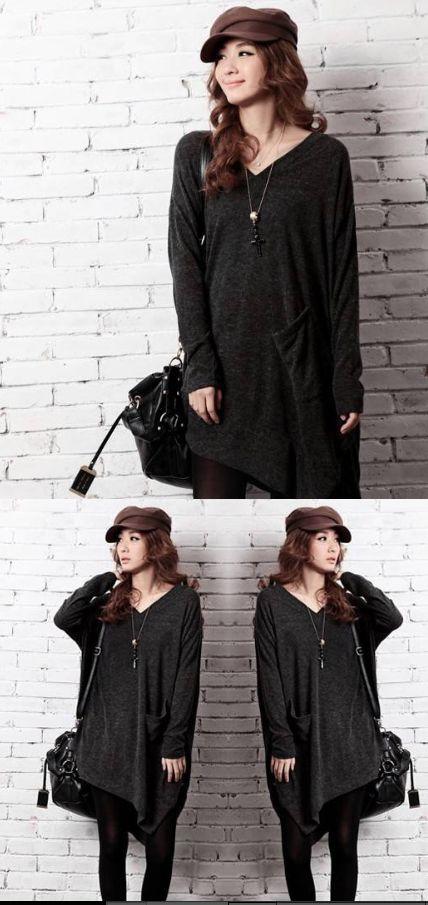 P6/Langer Pullover/Freesize/Dunkle Grau/ Ab 2 Stück 16EUR